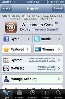 Cydia on iOS 6.1 - Tethered jailbreak
