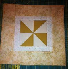 Gold & Beige Floral Pinwheel Pillow