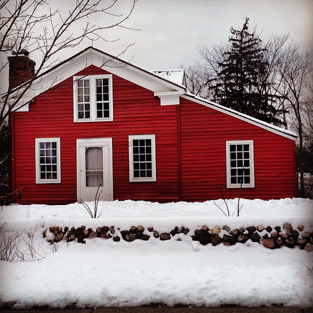Pretty red #house in burbs of #detroit