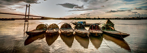 bridge sunset water river boat nikon sigma 1020mm kolkata hdr calcutta ghat hooghly d90 princep somsubhrachatterjeephotography primsep