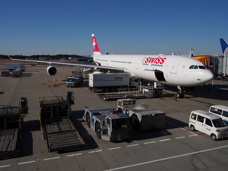 Swiss Air A340 at Narita