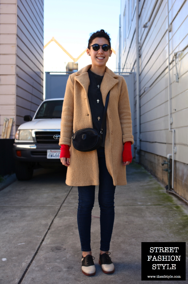 vintage coat, pop of red, saddle shoes, cross shirt, street fashion style, san francisco fashion blog,