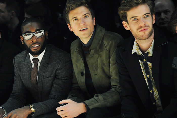 tinie tempah, greg james and harry treadaway at the burberry prorsum autumn-winter 2013 menswear show in milan