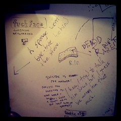 My roommate and I invented an antisocial networking platform called Fuckface. You can access it at www dot The Side of Our Fridge dot WTF. (Dry erase marker.)