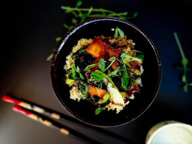 bok choi + king oyster mushroom quinoa