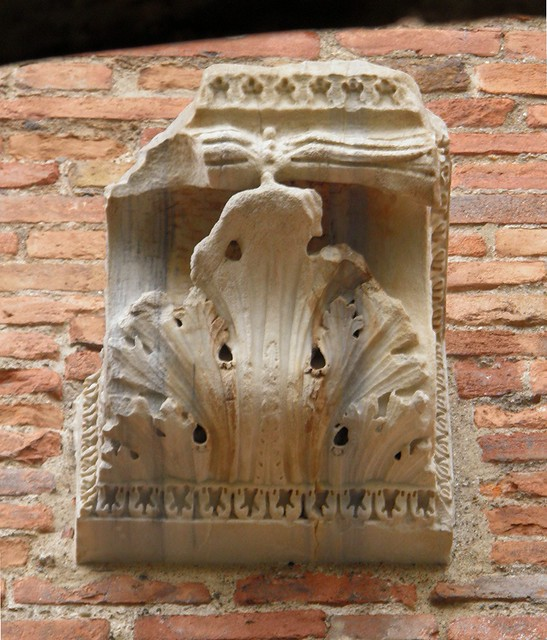 The only authentic Roman decoration of the Roman Circus, a bracket with an acanthus leaf motif on the side of the tower, Mediolanum, Milan (Italy)