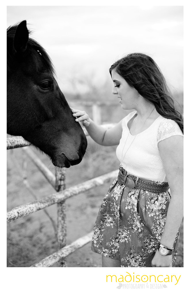 senior girl photos with a horse on a ranch