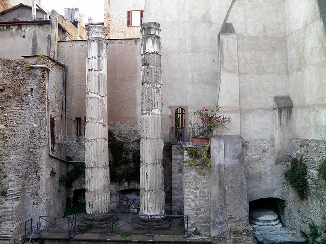 Temple on the Via delle Botteghe Oscure, dedicated to the Lares Permarini, who protected sailors or to the Nymphs, Rome
