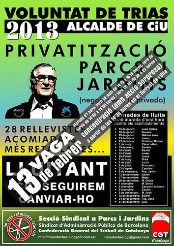 Cartell: 13 febrer vaga a parcs i jardins de Barcelona