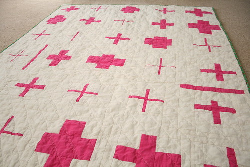 Hot Pink Cross Quilt