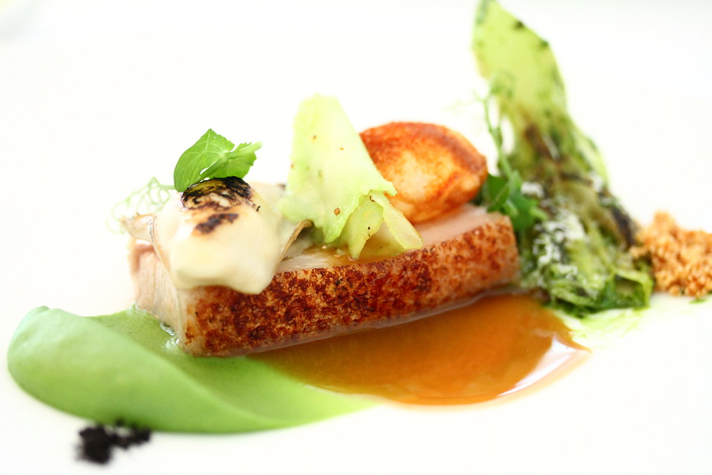 Restaurant Andre's Kurobuta pork belly with charred oyster and broccoli puree