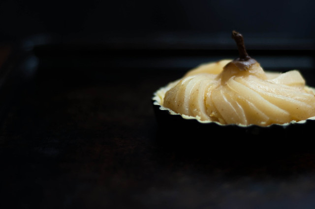 uncooked pear in pastry