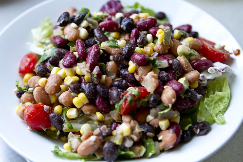 bean salad with grilled corn