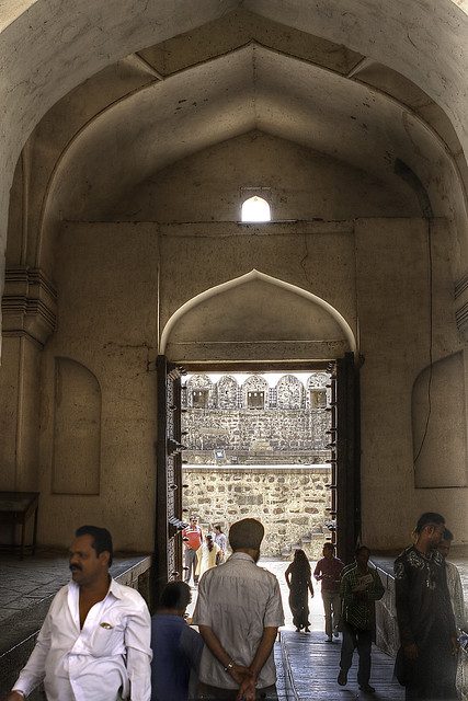 Inside view of the main gate at Golconda Fort, Hyderabad, India