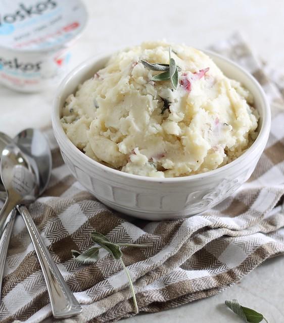 Roasted garlic greek yogurt smashed potatoes