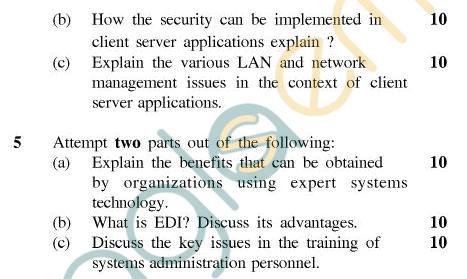 UPTU MCA Question Papers - MCA-404(4) - Client/Server Computing