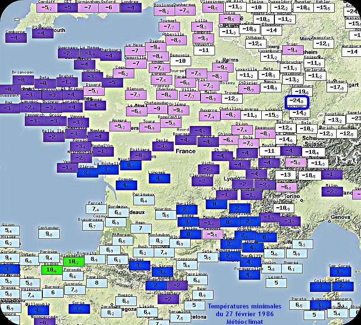 températures minimales glaciales et record absolu de froid à Colmar le 27 février 1986 météopassion