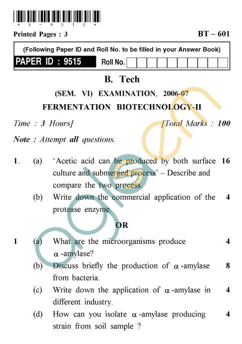 UPTU: B.Tech Question Papers - BT-601 - Fermentation Biotechnology-II