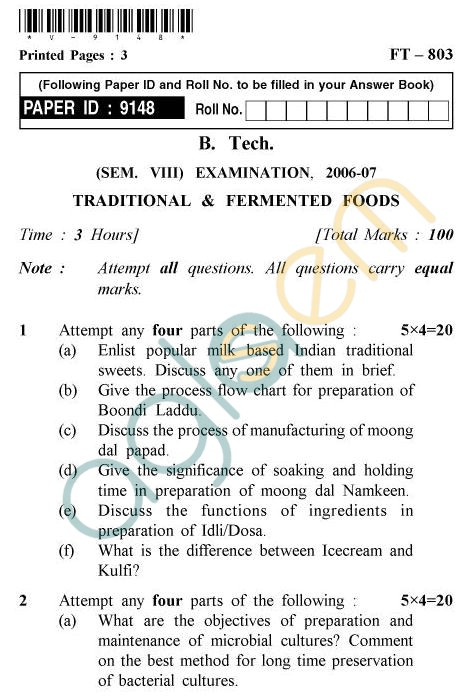 UPTU B.Tech Question Papers -FT-803 - Traditional & Fermented Foods