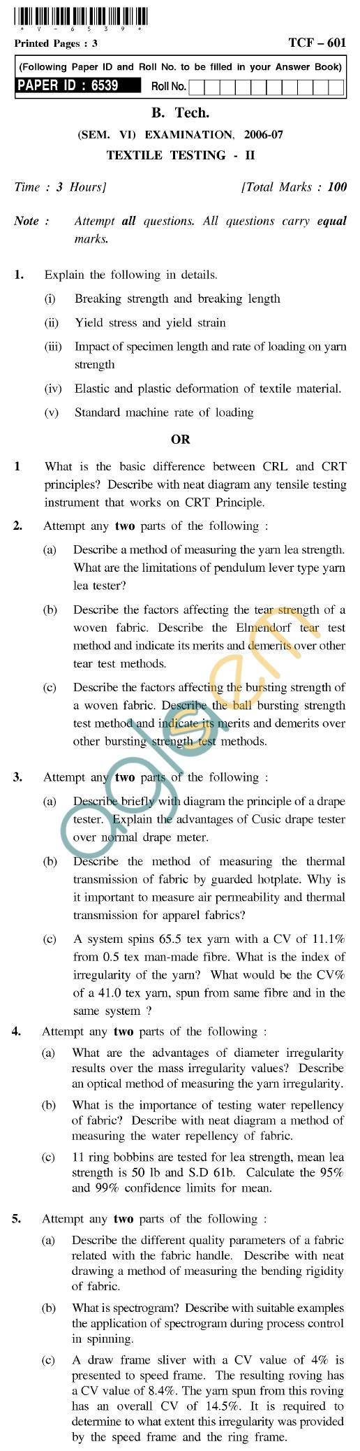 UPTU B.Tech Question Papers - TCF-601 - Textile Testing-II