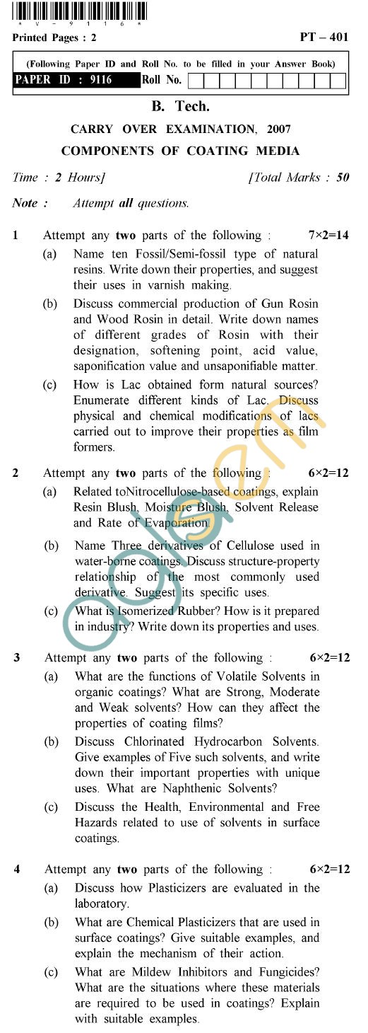 UPTU B.Tech Question Papers - PT-401 - Components of Coating Media