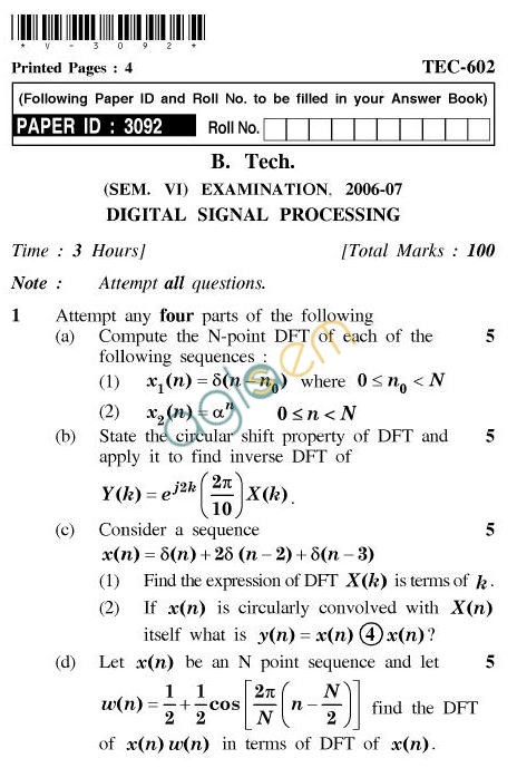 UPTU: B.Tech Question Papers - TEC-602-Digital Signal Processing