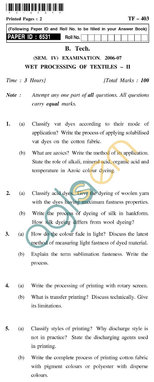 UPTU B.Tech Question Papers - TF-403 - Wet Processing of Textiles-II