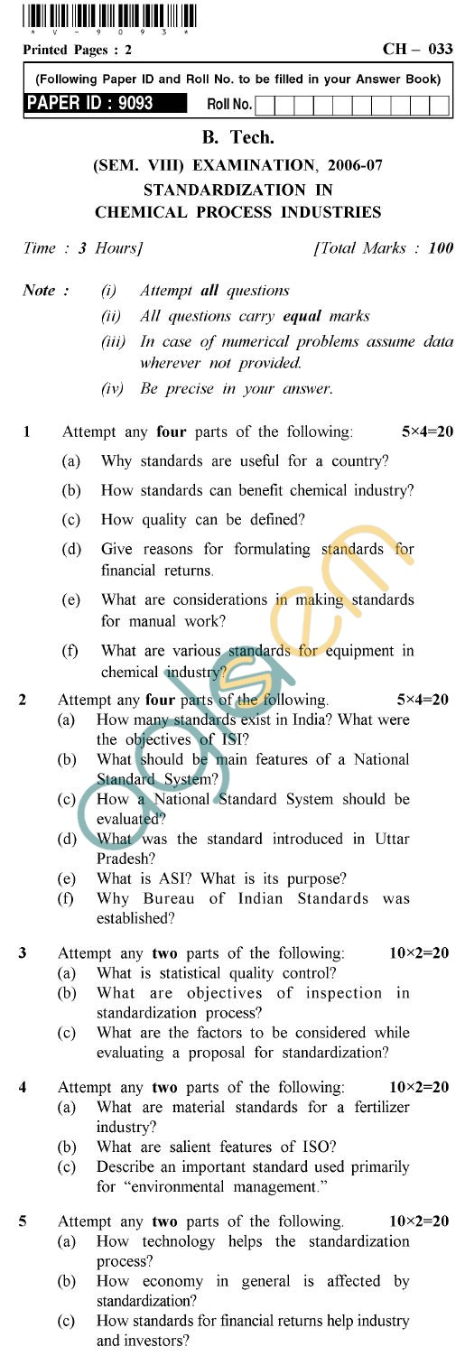 UPTU B.Tech Question Papers - CH-033 - Standardization in Chemical Process Industries