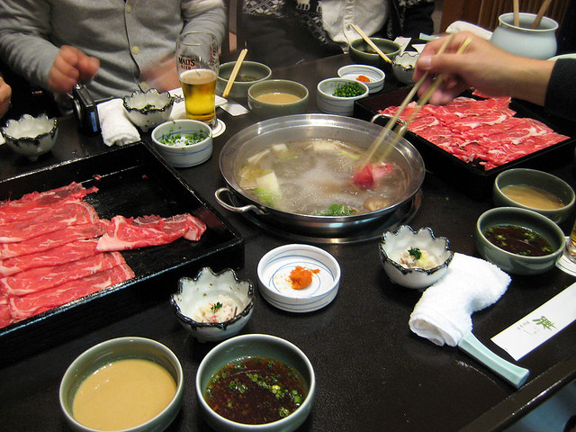 Eating the shabu-shabu