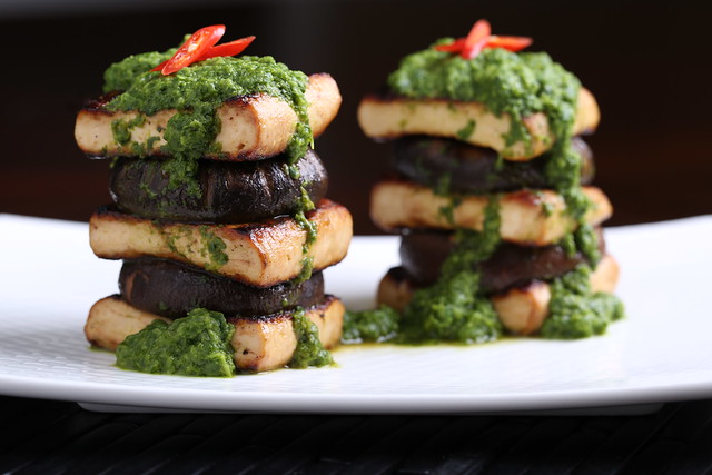 Tofu and Shiitake Stack with Bok Choy-Ginger Puree