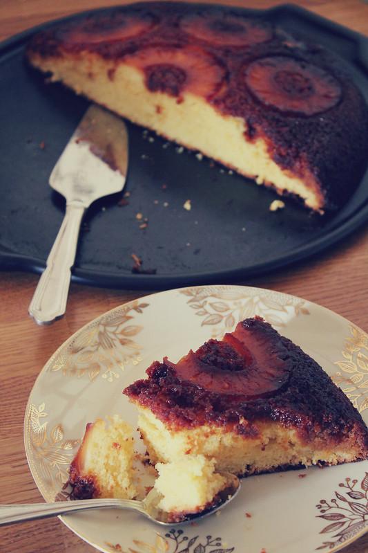Gâteau renversé ananas caramélisé et rhum