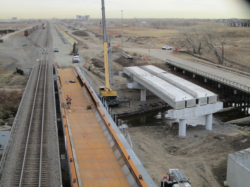 Photo of Union Pacific new freight bridge at Sand Creek, center