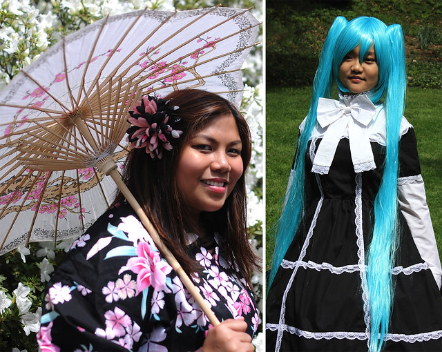 Visitors at Sakura Matsuri. Photos by Mike Ratliff (left) and Jean-Marc Grambert (right).