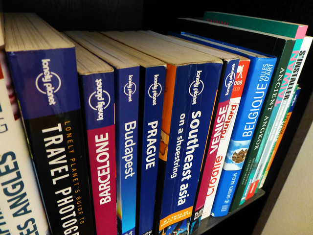 Bookshelf full of guidebooks