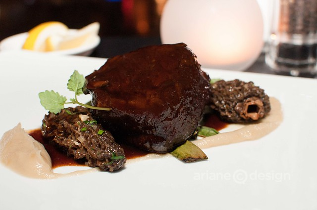 Eight-hour braised short rib, foraged spring onions, morel mushrooms, cooked in shallot and garlic