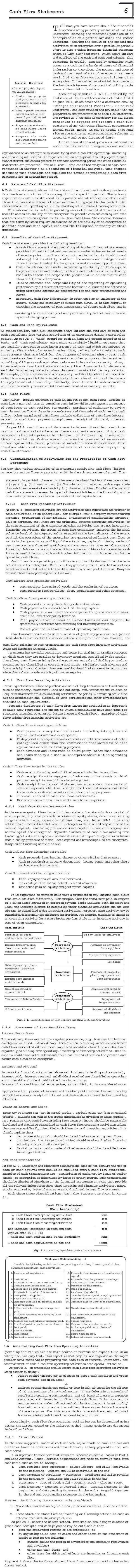 NCERT Class XII Accountancy II Chapter 6 - Cash Flow Statement