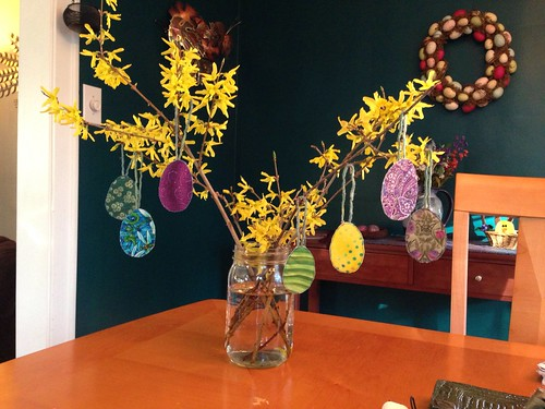 Fabric eggs and forsythia