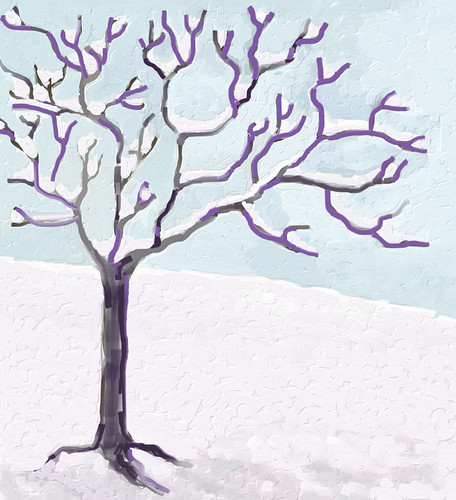 Snow and Tree (Digital Impasto) Day 3 FInal by randubnick