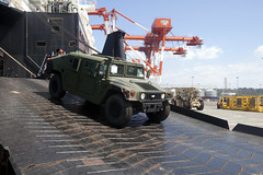 A U.S. Marine Corps High Mobility Multipurpose Wheeled Vehicle is offloaded from USNS 1st Lt. Jack Lummus in Subic Bay March 21 during Freedom Banner, a maritime prepositioning evolution in support of exercise Balikatan. (U.S. Marine Corps photo by Staff Sgt. Robert Dea)