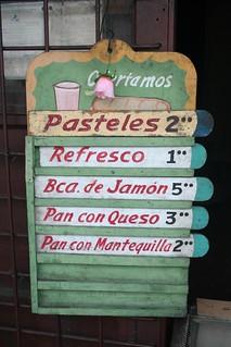 Preços de snacks para comer em Cuba