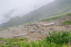 弓折乗越・・・霧雨が少しずつ強くなる。