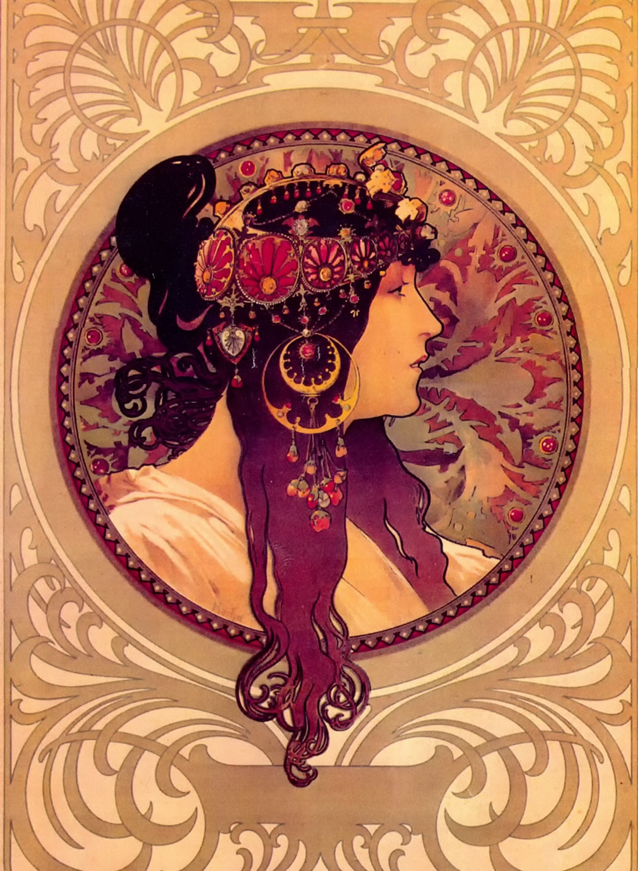 Byzantine Heads - Brunette by Alphonse Mucha