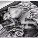 Sleeping Child II (b/w); acrylic on paper, 22 x 30 in, 1990