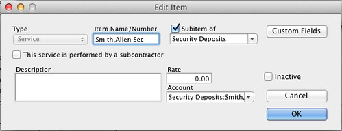 quickbooks item for security deposit of a tenant
