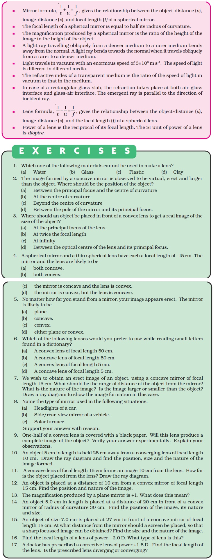 NCERT Class X Science Chapter 10 - Light, Reflection and Refraction