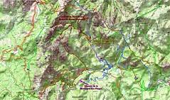 Carte IGN du Haut-Cavu avec les anciens chemins reportés depuis le Plan Terrier et le Cadastre Napoléon plus les itinéraires personnels parcourus depuis 2009