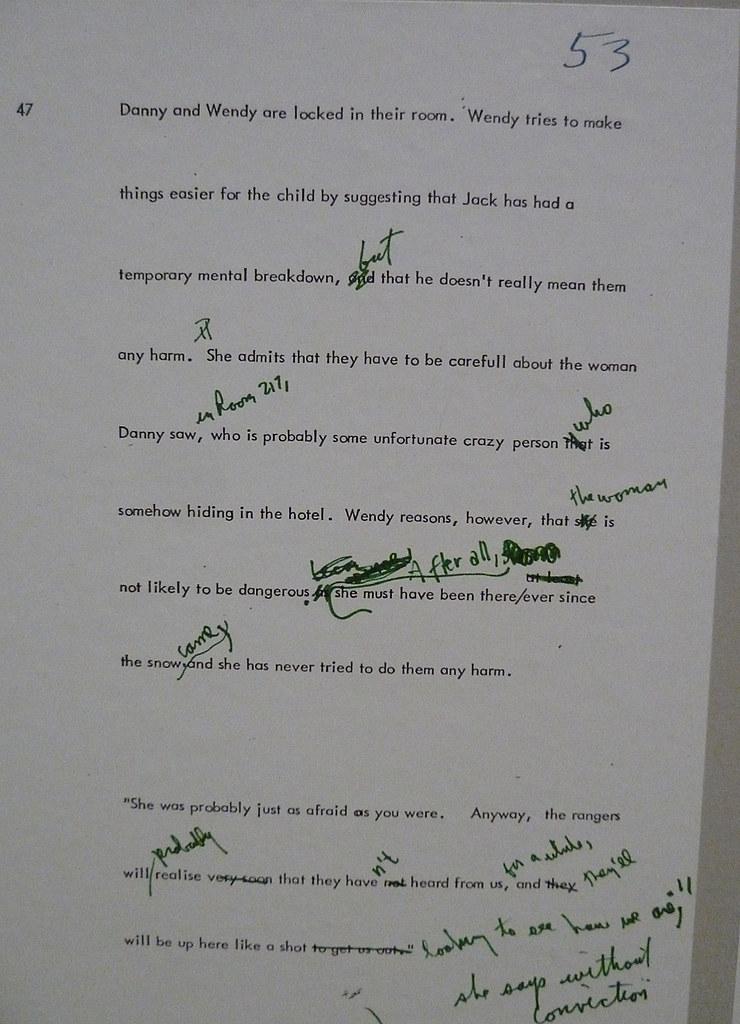 Kubrick Сияние Лист 53 сценария - экземпляр Кубрика