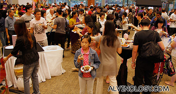 Public enjoying the free buffet spread and various games and activities