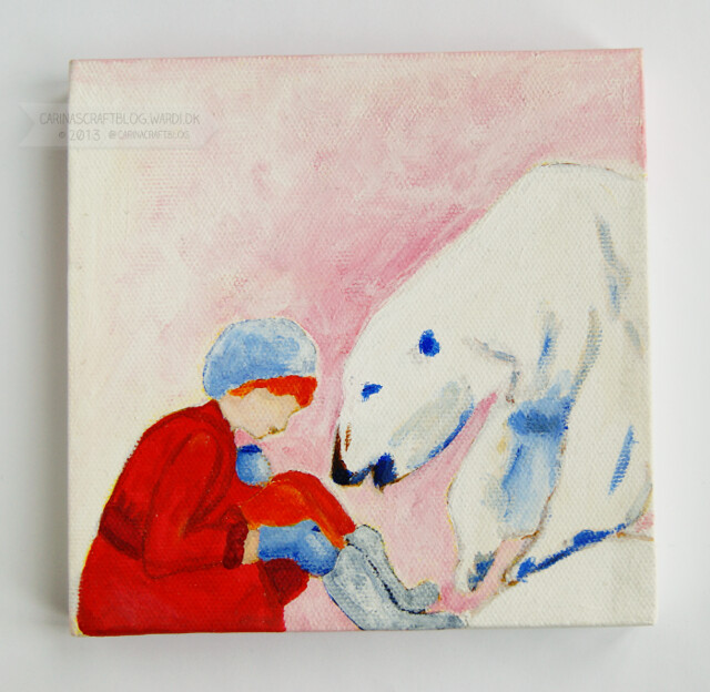 Girl in red and polar bear