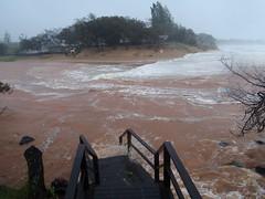 Moneys Creek Bargara. The sea surges into the lagoon.